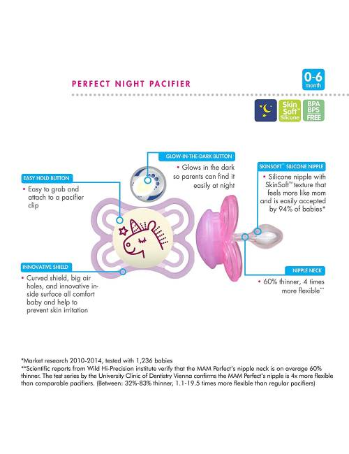 542420 Dummies MAM originales libres de BPA silicona con dise/ños unisex para Meses Edades 0-6 Paquete doble en surtidos colores