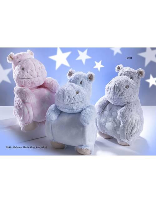 Peluche Y Manta Hipopotamo Rosa Gamberritos