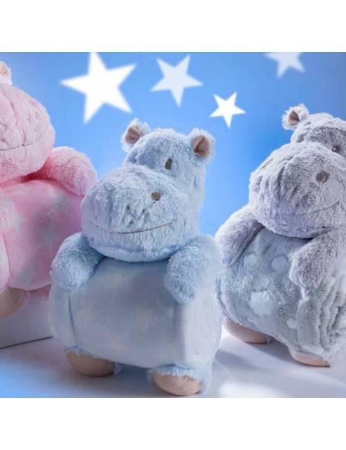Peluche Y Manta Hipopotamo Azul Gamberritos