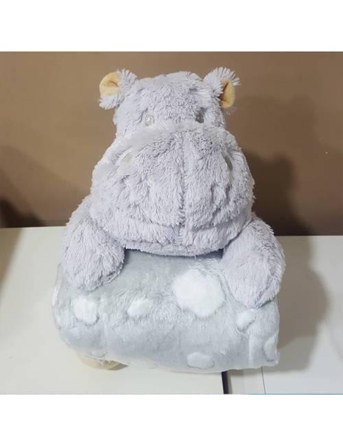 Peluche Y Manta Hipopotamo Gris Gamberritos