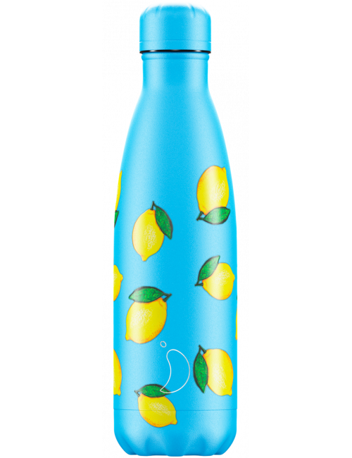 Botella Termo Chilly Frutal Limones Azul 500 ml Regalo Original
